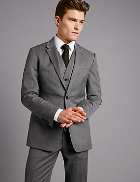 Grey Textured Slim Fit Wool 3 Piece Suit