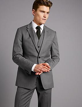 Grey Slim Fit Italian Wool 3 Piece Suit, , catlanding