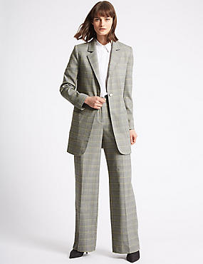 Checked Blazer & Wide Leg Trousers Suit Set, , catlanding