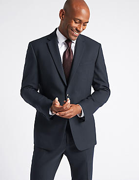 Big & Tall Navy Textured Slim Fit Suit, , catlanding