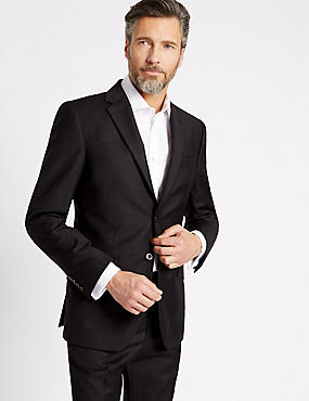 Charcoal Textured Regular Fit Wool Suit