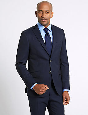 Navy Striped Slim Fit Wool Suit, , catlanding