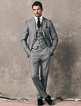 Checked Tailored Fit Wool 3 Piece Suit , , catlanding