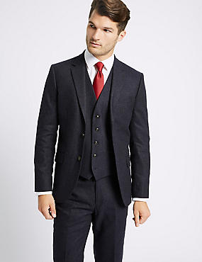 Indigo Textured Tailored Fit 3 Piece Suit, , catlanding