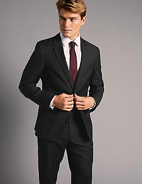 Big & Tall Black Tailored Fit Italian Wool Suit, , catlanding