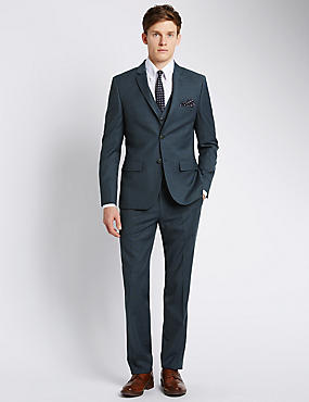 Blue Modern Slim Fit Suit Including Waistcoat