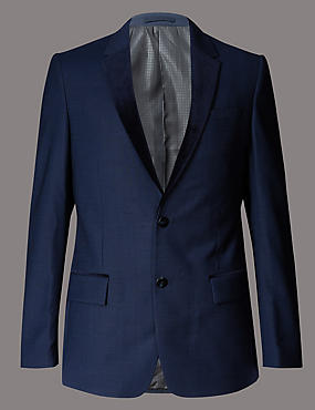 Navy Textured Slim Fit Suit