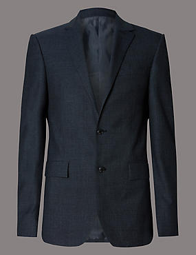 Denim Textured Tailored Fit Suit