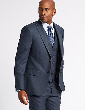 Textured Tailored Fit Wool 3 Piece Suit, , catlanding
