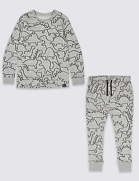 Cotton Rich Dinosaur Print Jumper & Joggers Collection