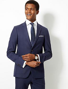 Indigo Textured Slim Fit Suit, , catlanding