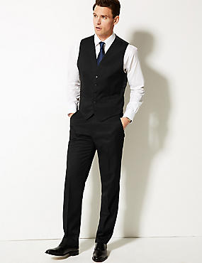 Black Regular Fit Suit with Waistcoat