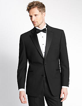 Black Regular Fit Wool Tuxedo Suit