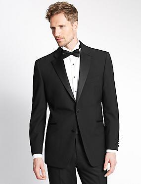 Black Regular Fit Wool Tuxedo Suit, , catlanding