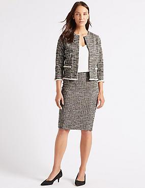 Cotton Rich Blazer & Pencil Skirt Suit Set, , catlanding