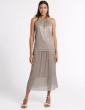 Pleated Metallic Top & Skirt Set