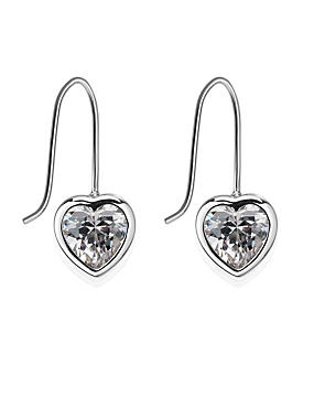 Platinum Plated Heart Bezel Drop Earrings