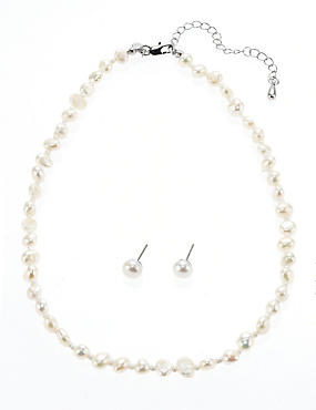 Fresh Water Pearl Classic Necklace & Earrings Set, WHITE, catlanding