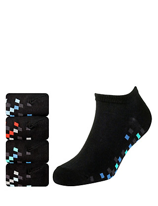 4 Pairs of Cotton Rich Pixel Sole Freshfeet™ Trainer Liner Socks with Silver Technology Clothing