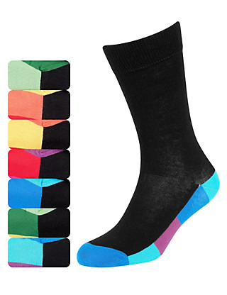 7 Pairs of Freshfeet™ Cotton Rich Bright Sole Socks with Silver Technology Clothing