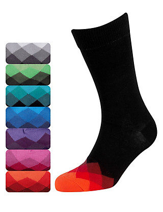 7 Pairs of Freshfeet™ Cotton Rich Harlequin Toe Socks Clothing