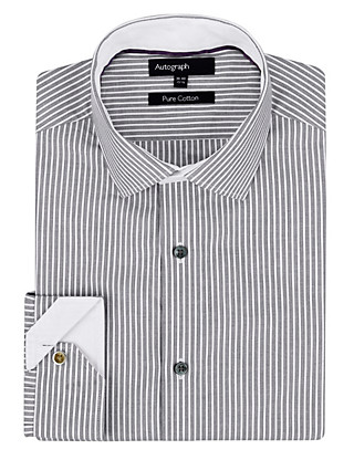 Pure Cotton Monochrome Striped Shirt Clothing