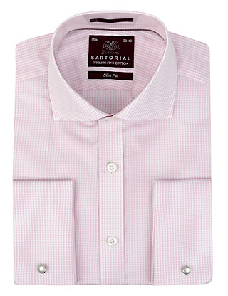 Pure Cotton Slim Fit Gingham Checked Shirt Clothing