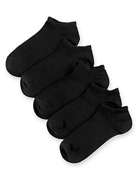 5 Pairs of Freshfeet™ Cotton Rich Trainer Liner Socks  (5-14 Years)