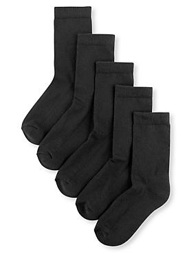 5 Pairs of  Cotton Rich Sports Socks(3-16 Years), BLACK, catlanding