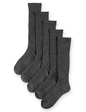 5 Pairs of Freshfeet™ Cotton Rich Long Ribbed School Socks (2-16 Years), GREY, catlanding