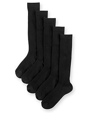 5 Pairs of Freshfeet™ Cotton Rich Long Ribbed School Socks (2-16 Years), BLACK, catlanding