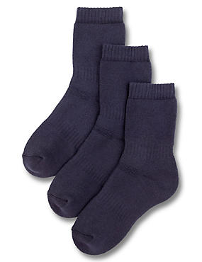 3 Pairs of Thermal School Socks (3-16 Years), NAVY, catlanding
