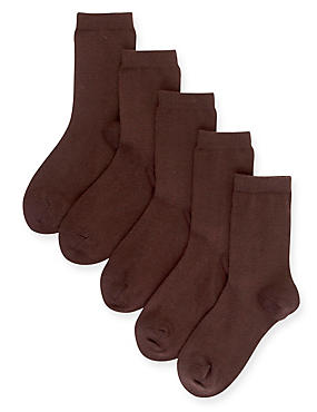 5 Pairs of Cotton Rich School Socks (3-16 Years), BROWN, catlanding