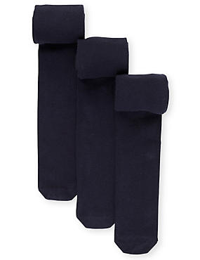 3 Pairs of Body Sensor™ School Tights  (4-14 Years), NAVY, catlanding