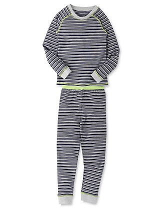 Striped Thermal Top & Pants Set Clothing