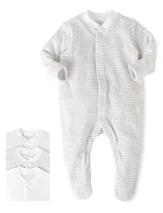 3 Pack Cotton Rich Towelling Sleepsuits Clothing