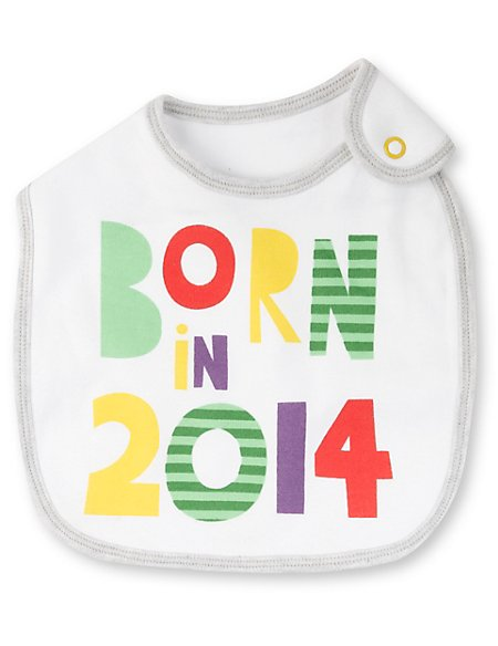 Pure Cotton Born in 2014 Bib