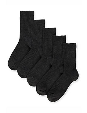 5 Pairs of Freshfeet™ Cotton Rich Ribbed School Socks (3-16 Years), BLACK, catlanding
