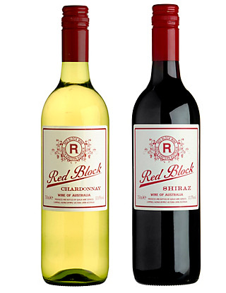 Red Block Australian Chardonnay & Shiraz Duo - Case of 6 Wine