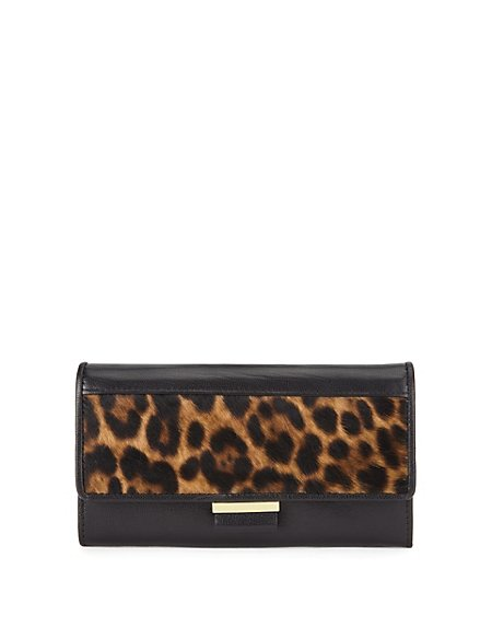 Leather Leopard Skin Print Purse with Cardsafe™