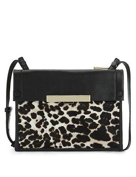 Leather Animal Print Across Body Bag