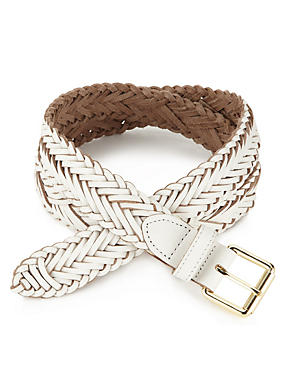 Leather Square Buckle Chevron Weave Belt