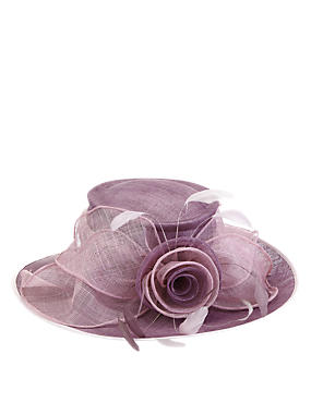 Big Rose & Mesh Wide Brim Hat