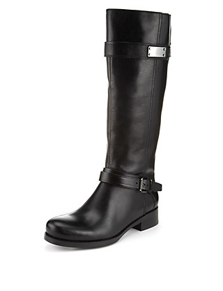 Leather Long Riding Boots with Stretch Zip & Insolia Flex® Clothing