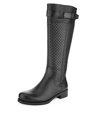 Leather Quilted Long Biker Boots with Stretch Zip & Insolia Flex® Clothing