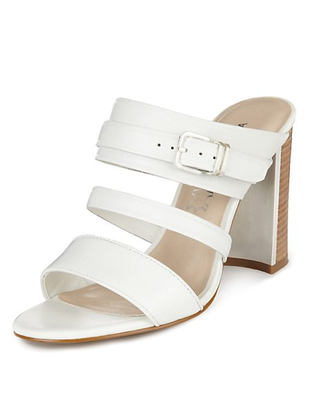 Leather Strappy Mule Sandals with Insolia®