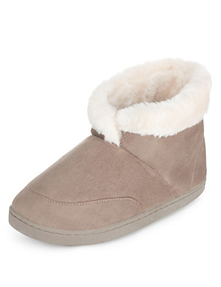 Faux Fur Cuffed Bootie Slippers Clothing