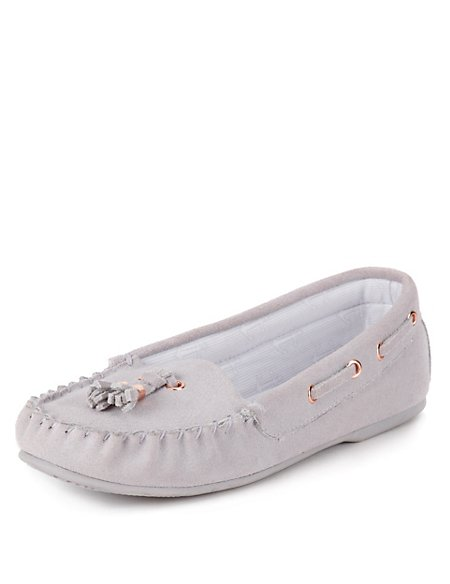 Freshfeet™ Suede Tassel Moccasin Slippers with Silver Technology