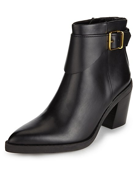 Leather Buckle & Strap Ankle Boots with Insolia®
