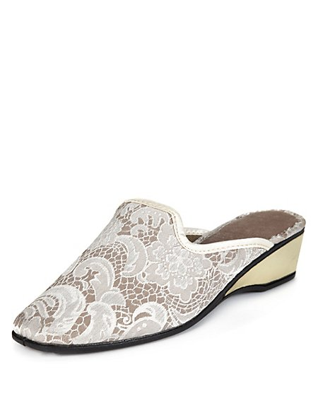 Floral Lace Wedge Slippers